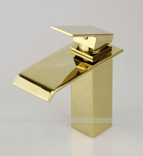 Free shipping ! 100% Brass. Bathroom Waterfall Faucet.basin mixer taps.golden.Wholesale and retail.1pcs/lot недорго, оригинальная цена