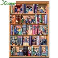 YOGOTOP Diy Diamond Painting Cross Stitch Bookshelf Cartoon Home Decor Square Mosaic Full Embroidery Kits ZB091