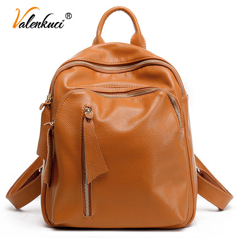 ФОТО Valenkuci leather backpacks for women shoulder bags school backpacks for teenage girls student backpack travel  backpack BD-145
