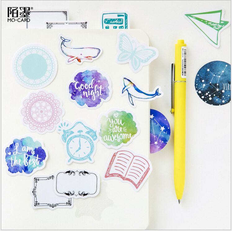 45Pcs/pack Dreamlike sea whale starry sky lace winter snowflake vintage frame decoration planner DIY scrapbooking diary stickers
