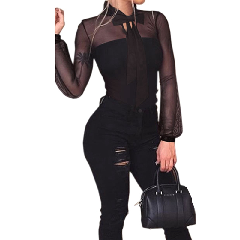 Black Ladies Bodysuit Top Woman Long Sleeve Rompers Bodysuit Body Feminino Lace Romper W ...