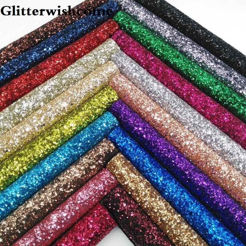 Glitterwishcome 21X29CM A4 Size Glitter Faux Leather Chunky Glitter Leather Fabirc Leather Fabric Vinyl For Bows, GM007A