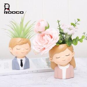 Image 4 - Roogo Bloempot Moderne Plant Pot Paar Liefhebbers Potten Voor Bloemen Succulent Leuke Decoratieve Bloempotten Voor Bruiloft Decoratie