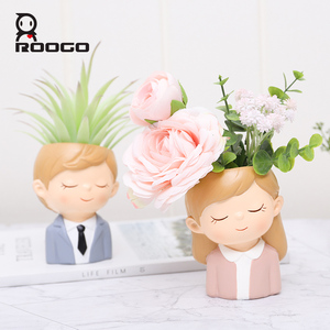 Image 4 - Roogo FlowerPot Modern Plant Pot Couple Lovers Pots For Flowers Succulent Cute Decorative Flower Pots For Wedding Decoration