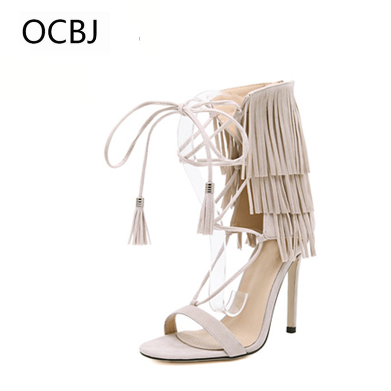 2018 New Spring Cross-tied Woman Sandals Super High Thin Heel Sandals Fashion Design for Party Open Toe Shoes