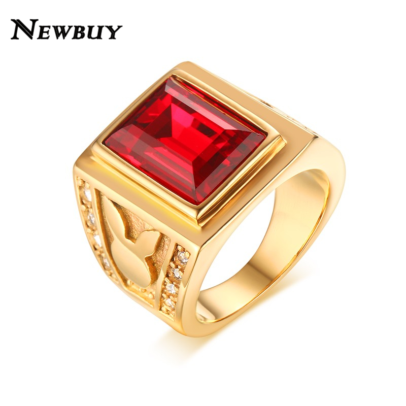 line Shop NEWBUY Men s Ring Stainless Steel Big Red Stone Ring