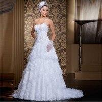 White Appliques Lace Sweetheart A Line Layers Vestidos 2 Piece Set Wedding Party Dress Vestido De Renda Plus Size
