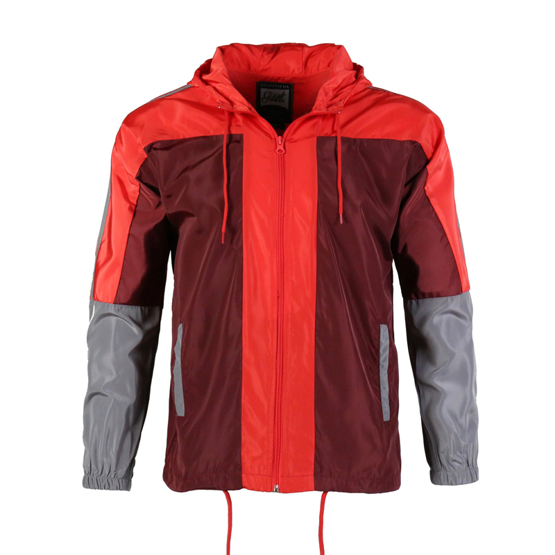 YI GUAN 2018 Men's Casual Wind Proof Waterproof  Hooded/Hoodies Windbreaker Tops Coats Red Patchwork Pullover,Free Shipping