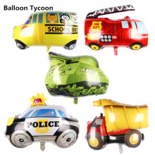 mini car aluminum foil balloon fire truck ambulance Tank air balloon children's toys decoration birthday party balloons(China)