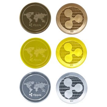 Ripple Coin Commemorative Cryptocurrency Round XRP Ripple Crypto Currency Plated Coin Collectible BitCoin Art Collection Gif