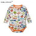 Cielarko Bebê Puro Algodão Orgânico das meninas Dos Meninos Manga Longa criança One-Pieces roupas Macacão Infantil bodysuit para o bebê ZBF192