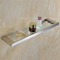 Leyden Modern Silver Chrome Finish Bathroom Glass Shelf Polished Stainless Steel Antirust Wall Mounted Bathroom Accessories