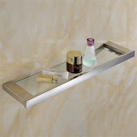 Leyden Modern Silver Chrome Finish Bathroom Glass Shelf Polished Stainless Steel Antirust Wall Mounted Bathroom Accessories