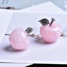 1 PC 天然ローズクォーツピンク apple カップル装飾ホーム家の装飾使用することができ勉強部屋の装飾 DIY ギフト
