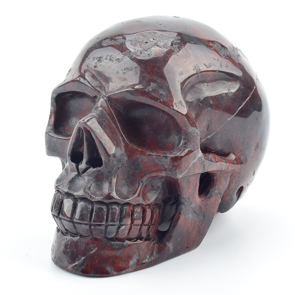 5 2 Engraved Natural Blood Stone Crystal Skull Statue Realistic Healing Gemstone Carving Rock Quartz Crystal