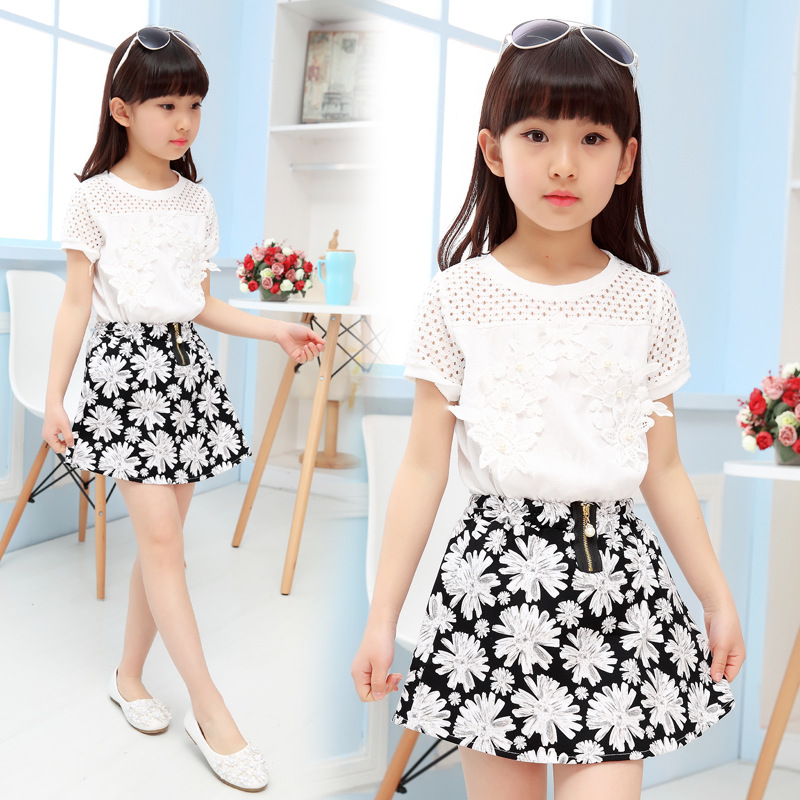 2016 Summer Fashion Baby Girls Clothing Set Children Kids Clothes Suit White Shirt + Flower Skirt 2 Pcs 3-12 Years W1615125 summer kids clothes suit for girls 3 13 years children army green cotton shirt clothing set boys girls clothing sport suit 174b