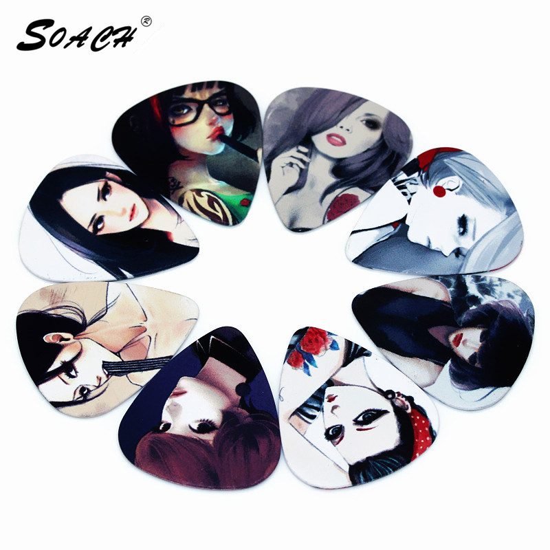 SOACH 10pcs/Lot 0.71mm Thickness Sketch  Cool Cartoon Girl Goddess Korea Music Guitar Picks
