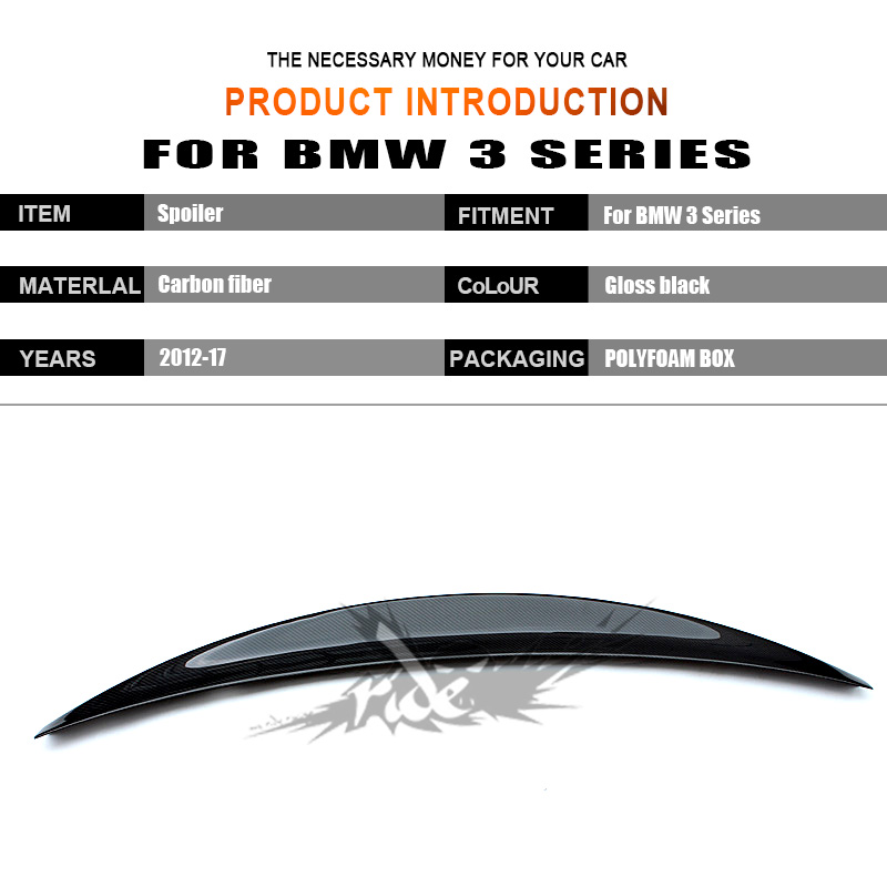 For BMW F30 F35 3 Series 320i 320d 325i 328i 330i 335i RIDE Style Carbon Fiber Rear Trunk Spoiler Wing Lip Car Styling 2012 2017 in Spoilers Wings from Automobiles Motorcycles