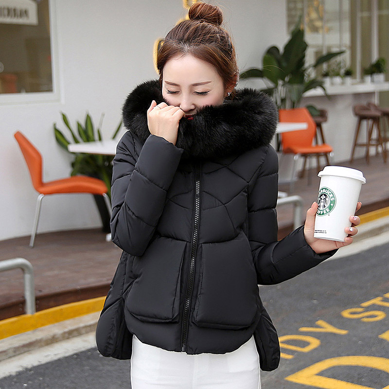 ФОТО Winter Women's Coat Thick Down Jacket Short Paragraph Thick Of The Version Of The Cotton Tops Big Collar Jacket Female WWF37