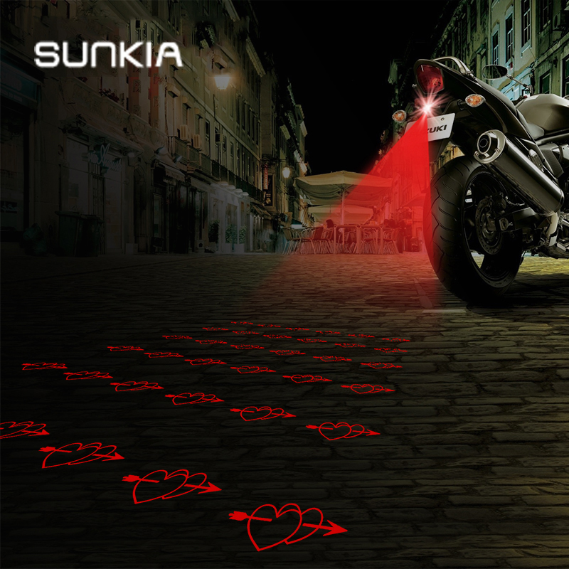 SUNKIA Lovely-Heart Pattern Anti Collision Achter-einde Motorcycle Laser Tail Mistlamp Brake Parking Lamp Voor Motor