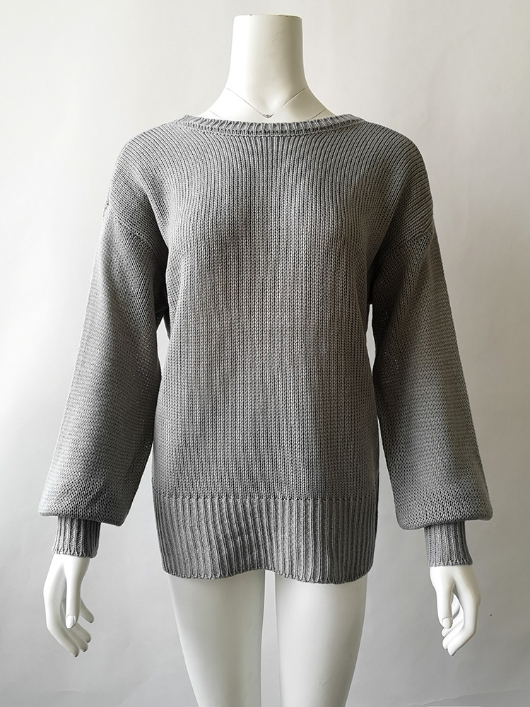 Sweet Backless Bowknot Lantern Long Sleeve Pullover Sweater 6