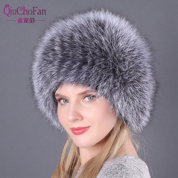 Natural Fox Fur Hats for Women Real Fur Beanies Cap Knitted Hats Russian Winter Thick Warm Fashion Caps Silver Fox Fur Hats lady фото
