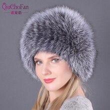 Naturalne futra lisa kapelusze dla kobiet prawdziwe futro czapki czapka z daszkiem czapki z dzianiny rosyjski zimowe grube ciepłe modne czapki Silver Fox futra czapki pani