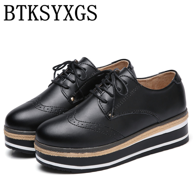 BTKSYXGS 2017 New Women's flats shoes leather Tide fashion Comfortable breathable Ladies platform shoes Women casual shoes Woman