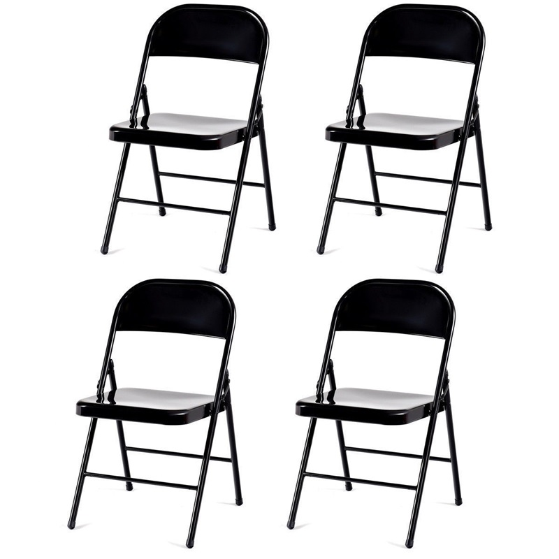 Set Of 4 Steel Frame Heavy Duty Armless Folding Chairs Waterfall Front Edge Office Chair