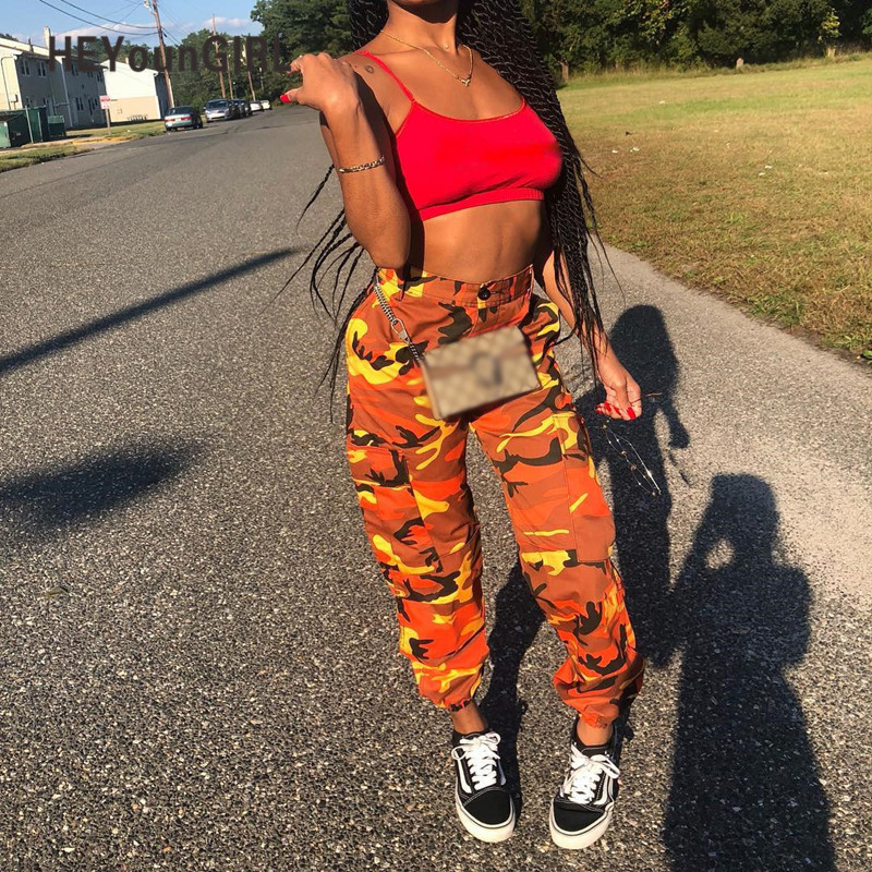 Heyoungirl Ladies Trousers Sweatpant Camouflage-Pants Gray Orange Loose Pink Camo High-Waist
