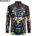 Hot Sale Men's Shirts Men Luxurious Tuxedo Shirt Mens Fashion Printing Casual Shirt Male Long Sleeve Brand Dress Shirts AZ137