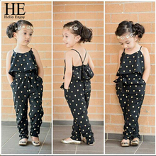 HE Hello Enjoy Summer Girls Clothing Sets Cotton Sleeveless Polka Dot Strap Jumpsuit Kids Clothes Outfits Children