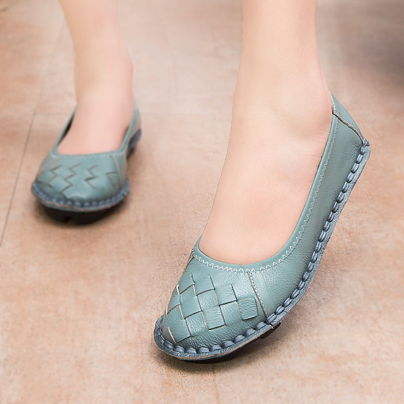 MUYANG 2016 New Fashion Genuine Leather Handmade Women Shoes Comfortable Casual Flat Shoes Woman Loafers Women