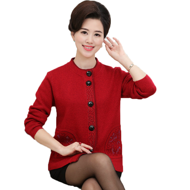 a11ef65c3c WAEOLSA Mature Women Elegant Woollen Cardigan Sweaters Middle Aged Woman  Cashmere Wool Knitted Tops Lady Casual Sequine Cardigan