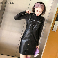 SHILO GO Leather Dress Womens Summer Fashion sheepskin genuine leather Dress metal spaghetti strap V Neck single breasted dress