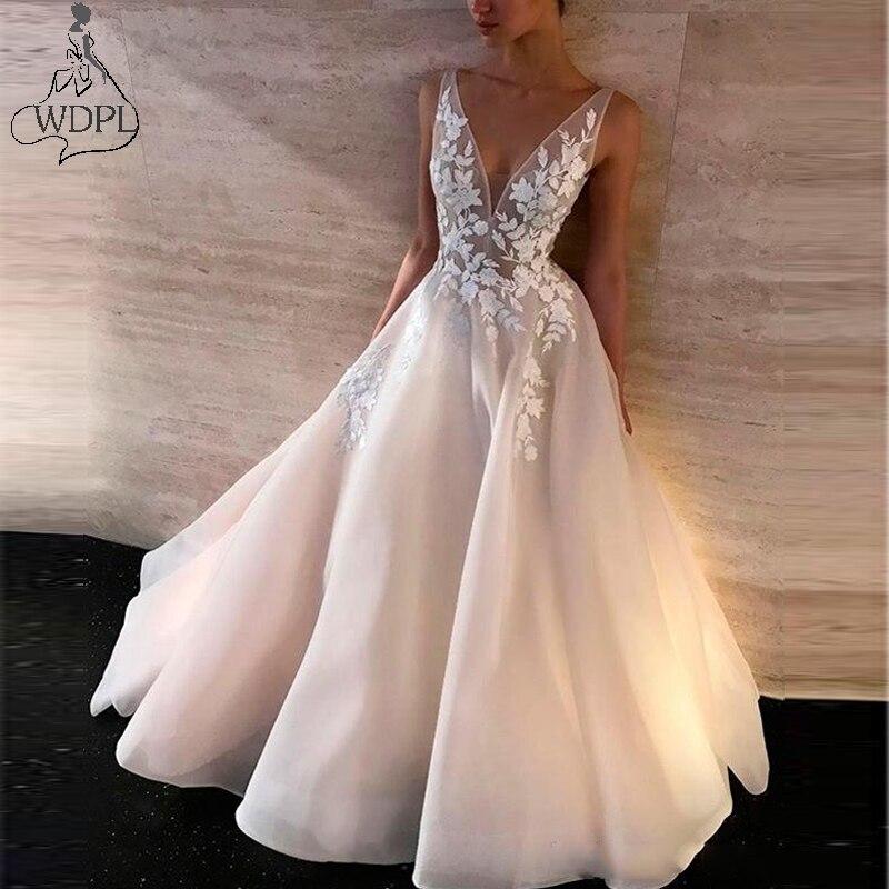 f38dcb6945547 Elegant Light Pink Long Prom Dresses Deep V neck Sleeveless Formal ...