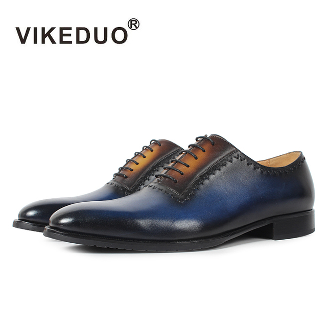 VIKEDUO Handmade Italy Design Men's Oxford Shoes Genuine Leather Fashion Wedding Party Formal Dress Shoes Patina Bespoke Zapatos