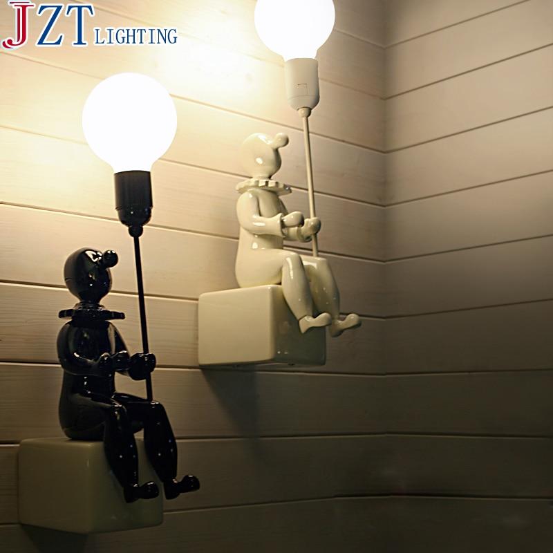 Настенный светильник E27 в скандинавском стиле с клоуном, керамический, индивидуальное освещение для двора, настенный светильник из смолы, т