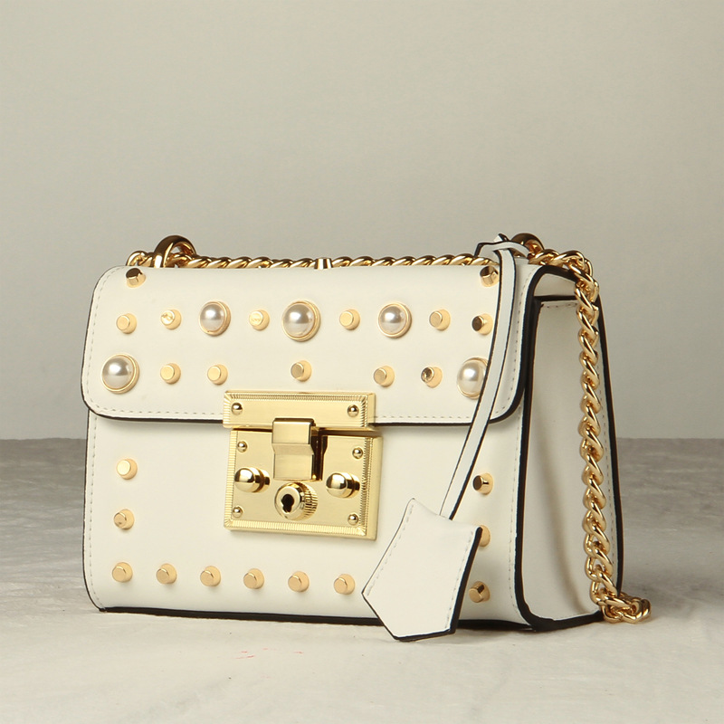 цена 2018 New Women Lady Genuine Leathe Cowhide Pearls Rivets Chain Designer Handbags Flap Shoulder Bag Crossbody Messenger Mini Bags