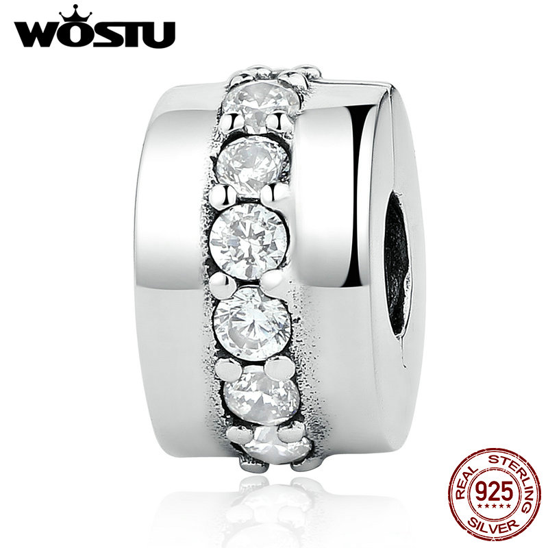 Neue Ankunft Echt 925 Sterling Silber Glänzende Pfad Clip Charms Perlen Fit Original WST Armband Armreif Authentische Feine Schmuck