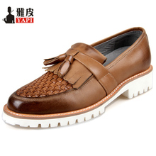 Retro Mens Woven Genuine Leather Shoes Thick Heel Oxfords Tassel Chukkas Dress Shoes Man's Casual Heighten Shoes