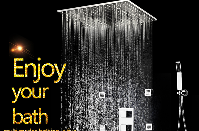 20 Shower Head Rainfall Mist SPA 4 Ways Concealed Thermostatic Shower Set 6 Massage Body Jets Panel Embedded Ceiling  2016 hm (3)
