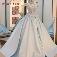 Angel Tree 2017 Hot Sales Flowers Wedding Dress A Line Appliques Beading Slim Boat Neck Bridal