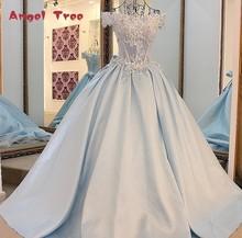 Angel Tree 2017 Hot sales Flowers Wedding Dress A-Line Appliques Beading Slim Boat Neck Bridal Gown Vestido De Noiva