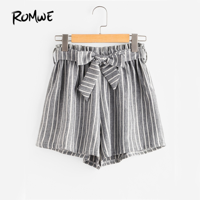 80bca2f31f83 ROMWE Striped Brief Shorts High Waist Womens Grey Self Bow Tie Front Cute  Summer Shorts Fashion Wide Leg Ruched Casual Shorts