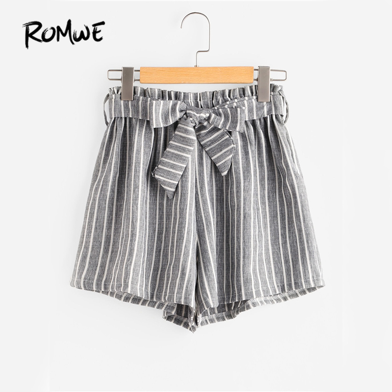 ROMWE Striped Brief Shorts High Waist Womens Grey Self Bow Tie Front Cute Summer Shorts Fashion Wide Leg Ruched Casual Shorts