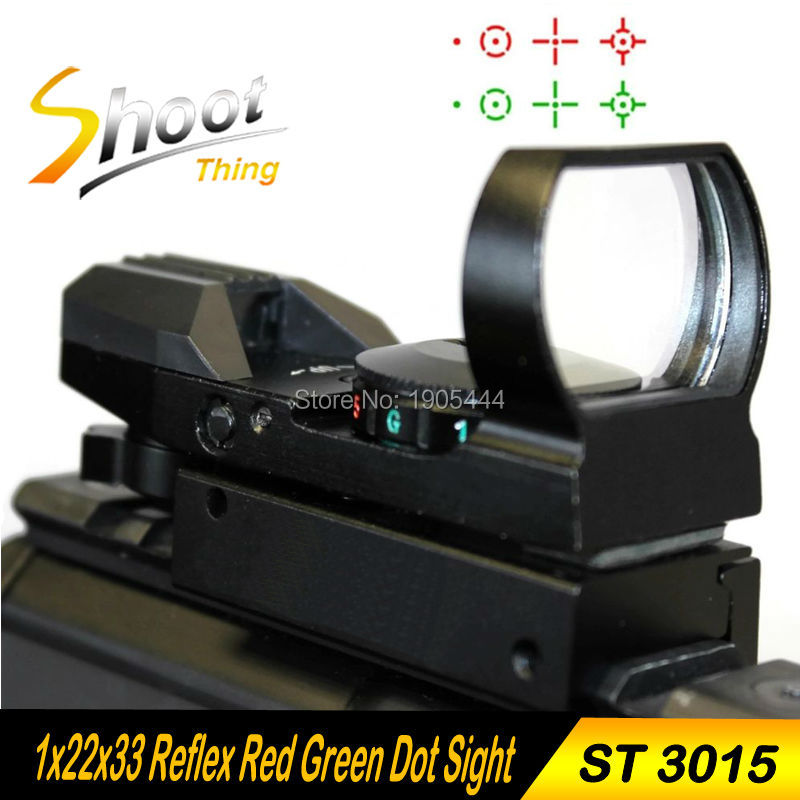 ST3015 Holographic 4 Reticle Red/Green Dot Sight Scope with Hunting Tactical 20mm Holographic 1x22x33 Reflex Red Green Dot Sight tactical holographic red green dot reflex 4 reticle sight scope w 20mm rail mount for hunting