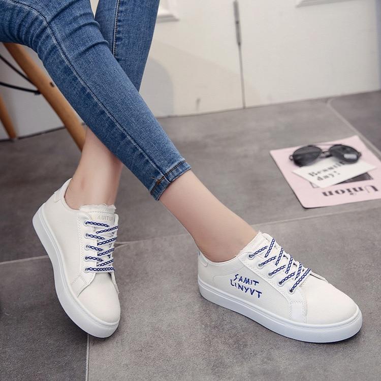 На платформе с круглым носком один школьница небольшой белые туфли. Холст Халаза движения обувь Другое-Алекс