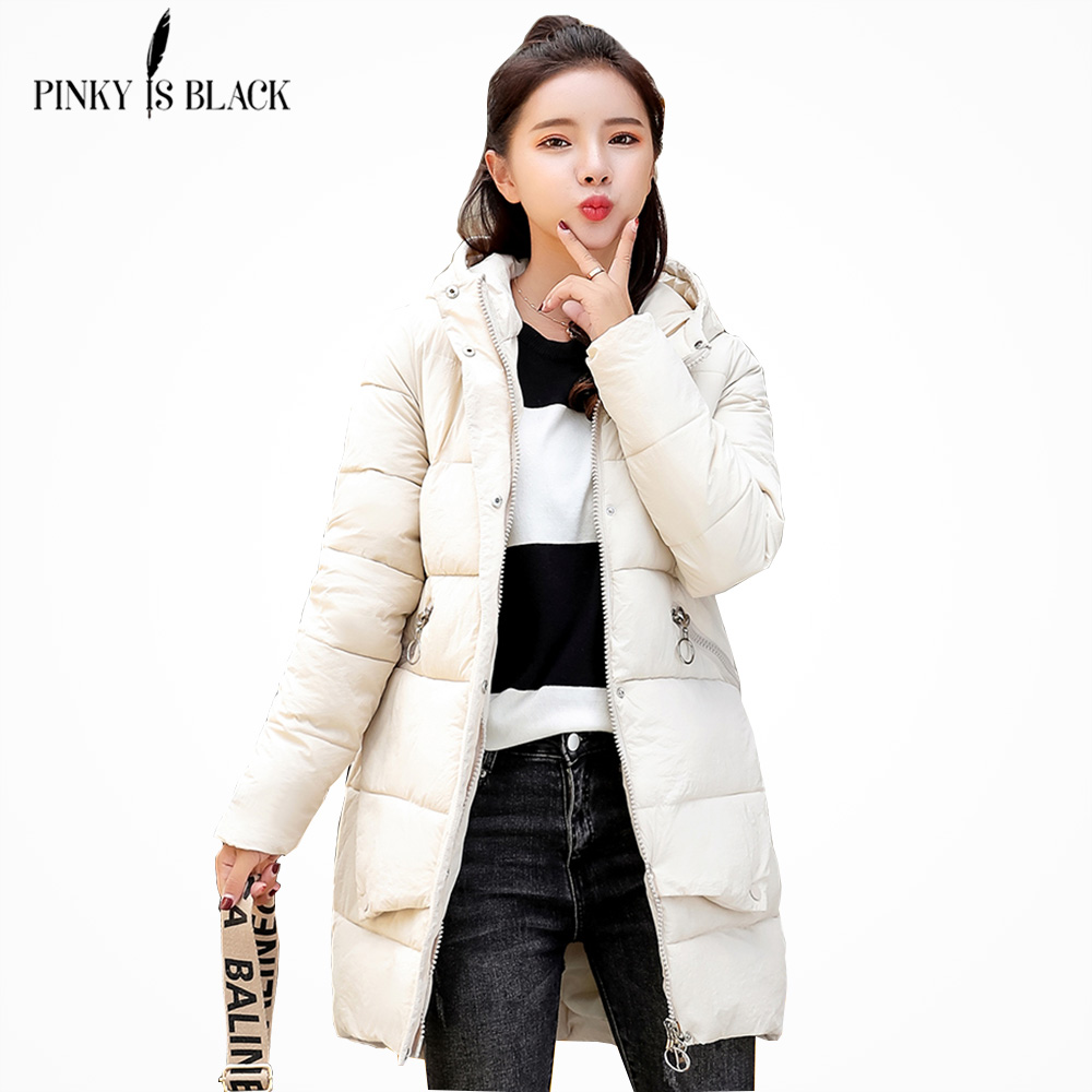 PinkyIsblack 2018 winter jacket women coat hooded collar thick warm cotton jacket female outerwear long   parkas   chaqueta feminino