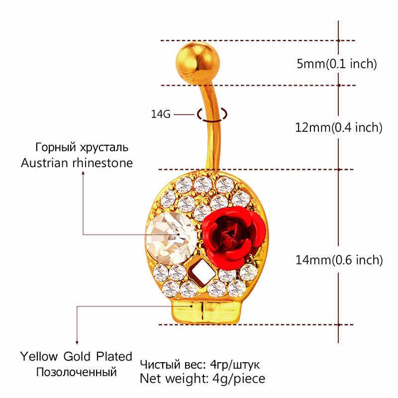 U7 Piercing Skull Rose pierścień pępka kobiet śliczne Rock Beach Party brzuch przycisk ciało biżuteria Db004